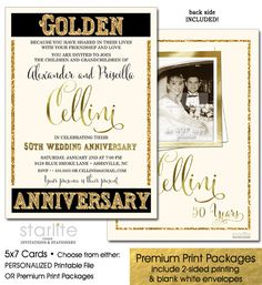 25th wedding anniversary surprise party invitations wedding 50th photo anniversary invitation golden anniversary invitation with picture invitations for 50th wedding anniversary printable printed stopboris Choice Image