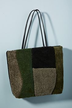 Slide View: 1: Primecut Shearling Patched Tote Bag
