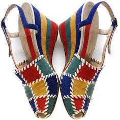 Wedge suede heels by Salvatore Ferragamo, Italy, ca. 1945. l Victoria and Albert Museum