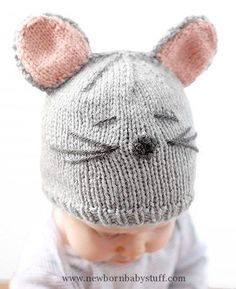 Baby Knitting Patterns Free Knitting Pattern for Little Mouse Baby Hat - Cassandra ...