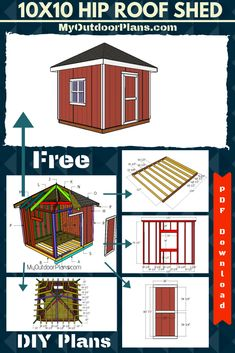 This step by step diy project is about simple shed with hip roof plans. I have designed free plans for you to build this cute garden shed with a hip roof. This shed features a front door and a side window. 10x10 Shed Plans, Storage Shed Plans, Deer Blind Plans, Outdoor Sheds, Outdoor Spaces, Hip Roof, Wooden Playhouse, Roof Plan, Diy Shed