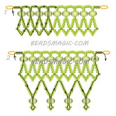 FREE Pattern for beaded necklace LIME | Beads Magic. Use: seed beads 11/0, rondelle beads 6-8mm. Page 2 of 2