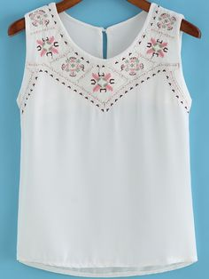 Trendy embroidery clothes t shirts embroidered tops mexican dresses Shirt Embroidery, Embroidery Fashion, Clothes Crafts, Sewing Clothes, White Cami Tops, Aesthetic Shirts, Mexican Dresses, Blouse Dress, Clothing Patterns