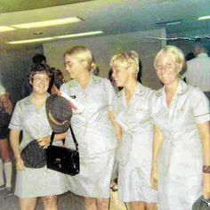 Peg Smedley (second from left) in a photo taken at the Philadelphia airport on the day she left to serve as a nurse in the Vietnam War in 1970.