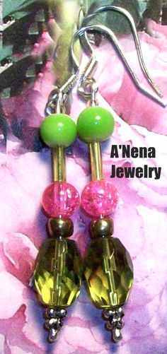 Earrrings  For Women Pink and Green  Artisan Glass by ANenaJewelry, $5.00