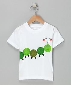 Take a look at this Tiny Tater Tees Caterpillar Organic Tee - Infant, Toddler & Kids by Simply Organic Collection on today! Free Motion Embroidery, Embroidery Applique, Embroidery Designs, Baby Sewing Projects, Sewing For Kids, Applique Patterns, Applique Ideas, Baby Shirts, Diy Clothes