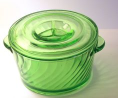 Green Depression Glass Ice Bowl by hellosweetie on Etsy, $35.00