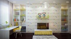 Kids Room Designs. Beautiful calm-colored girls room design ideas with cool wall bookshelves integrated with white modern study desk, cute wall shelving for decoration, nice white lampshade design and floor TV unit with cabinet. Fun Color Treatments for Kids Room
