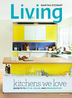 Modern yellow kitchen // all kinds of yeses to the under-bar storage