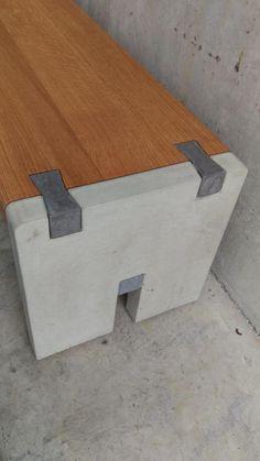 asiento de banco concreto y madera color unaturalu