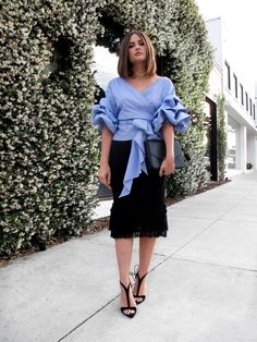 Where to buy the affordable ruched-sleeve, off-the-shoulder blouse bloggers are obsessing over | Storets Jordyn Ruched Sleeve Wrap Blouse, $68