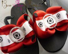 d1adbd29114e32 Soccer. Soccer Flip Flops Bow Number Personalized ...
