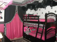 The girls asked for a pink zebra room...