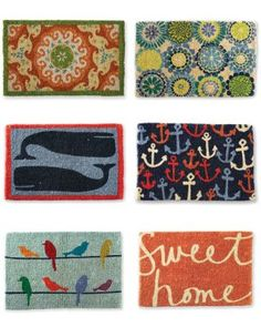 Garnet Hill Doormat Collection...I love the one in upper left corner!!