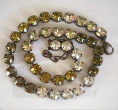 VENUS Swarovski crystal 8mm tennis style necklace lime,chrysolite satin - elenamaratos crystal jewelry