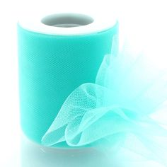 "3"" Premium Tulle Aqua 25yd HBC Brand. PLEASE BE AWARE of Counterfeit products from other Sellers offering HairBow Center brand ribbon! Please make sure the item is SOLD BY HAIRBOW CENTER to receive GENUINE HBC brand ribbon. Grosgrain ribbon quality can vary greatly by weave, stiffness, sheen, and color accuracy. Unfortunately, other sellers may be selling cheaper, lower quality ribbon under the HBC name. Available in 25yd and 100yd rolls. 100% Nylon."