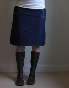 Denim Aline Skirt Architect. $68.00, via Etsy.
