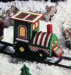 New Plastic Canvas Patterns | Train Christmas Plastic Canvas Pattern 1991 by SouthcastleVintage