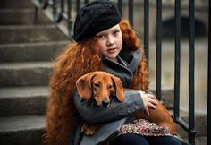 Red headed girl with a red dachshund Red Hair Don't Care, Rides Front, Kids Around The World, Redhead Girl, Foto Pose, Perfect World, Ginger Hair, Beautiful Children, Little People