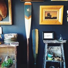 New [vintage] hand painted oars hit the floor today, along with tons more new shwag. Beautiful day today–can't wait to see ya!  (at Pioneer Goods Co.)