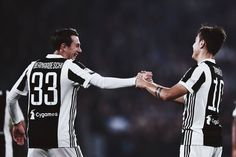 Paulo Dybala of Juventus celebrates his goal with the teammate Federico Bernardeschi during the Serie A match between Juventus and Spal on October 2017 in Turin, Italy. Football Art, Juventus Fc, Soccer Players, Cristiano Ronaldo, Goals, Celebrities, Image, Turin Italy, October 25