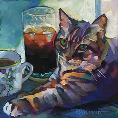 """""""Coffee, Tea or Me,"""" oil on Gessobord. Our Bailey, lounging on my desk with my coffee from breakfast and my iced tea from lunch."""