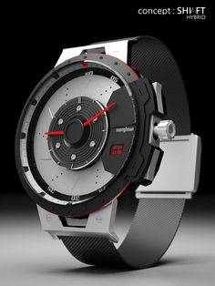 Concept: Shift Hybrid (men's watch, shaped like a slotted & dimpled brake rotor, evoking tachometer needles... DO WANT)