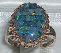 RARE ENGLISH MADE 9K SOLID ROSE GOLD UNIQUE COLORFUL MOSAIC OPAL RING