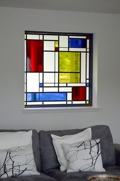 "https://flic.kr/p/HWYy5Z | Mondrian Stained Glass | Installing Cat.M's new ""Mondrian"" inspired stained glass window. Kilmacolm, Scotland. www.rdwglass.com"