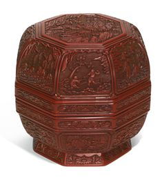 A CINNABAR LACQUER 'STAR GODS' BOX AND COVER MING DYNASTY, 16TH CENTURY   明十六世紀…
