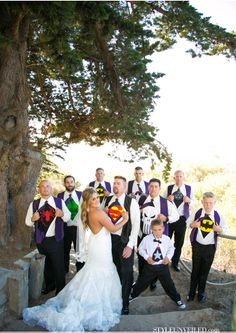 Superhero Groom and Groomsmen / A Wedding at The Cliffs Resort in Pismo Beach / Eggplant and Green Apple Color Palette / A Blake Photography / via StyleUnveiled.com
