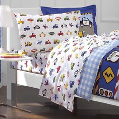 Amazon.com: Dream Factory Trucks Tractors Cars Boys 5-Piece Comforter Sheet Set, Blue Red, Twin: Home & Kitchen