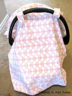 DIY car seat canopy. Baby shower gift idea.