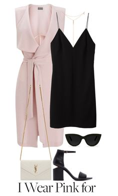 """""""Untitled #485"""" by margaridasilv ❤ liked on Polyvore featuring Miss Selfridge, T By Alexander Wang, Alexander Wang, Yves Saint Laurent, Quay, Tacori and IWearPinkFor"""