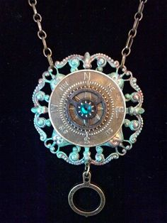 Steampunk Compass and Gears Necklace  verdigris by KreationsByKimH, $20.00