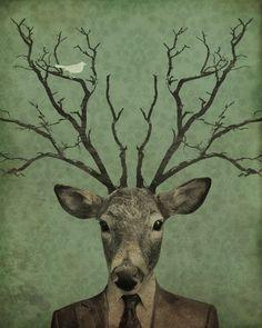 antlers wood block print by luciusart. etsy.