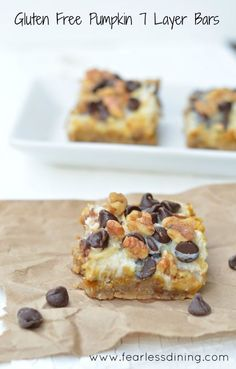 Gluten Free Pumpkin Seven Layer Bars are a quick and easy treat for fall! http://www.fearlessdining.com