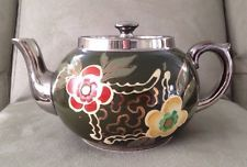 VINTAGE 1940's Gibson's England Silver & Copper Enamel Floral Teapot For Two