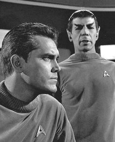 Captain Christopher Pike and Spock, 'The Cage'...back when Spock smiled and yelled alot.