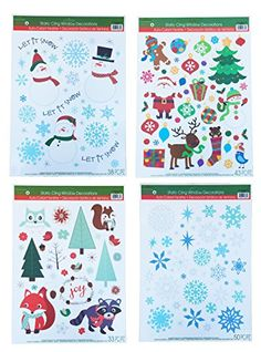 Christmas Static Window Cling Decorations  4 Large Sheet Sets Featuring Santa Snowmen Snowflakes Gingerbread Men Reindeer and More ** Check out the image by visiting the link. (Note:Amazon affiliate link)
