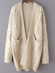 Shop Beige Long Sleeve Cable Knit Pockets Cardigan online. SheIn offers Beige Long Sleeve Cable Knit Pockets Cardigan & more to fit your fashionable needs.