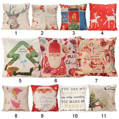 Christmas Series Pillow Cover Xmas Ambience Decorative Square Pillow Case Cartoon Santa  Alphabet Owl Home Bed Supplies Gift #>=#>=#>=#>=#> Click on the pin to check out discount price, color, size, shipping, etc. Save and like it!
