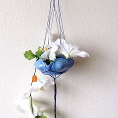 Brilliant and blue hanging succulent planter. Soo ready for summer!  Link in bio.