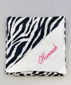 Look at this #zulilyfind! 27'' x 29'' Zebra Snuggle Personalized Stroller Blanket #zulilyfinds