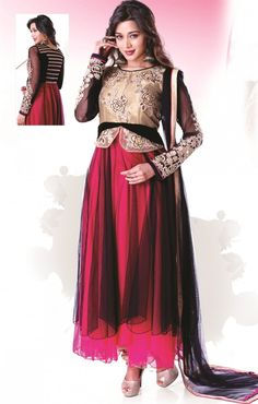 Black color net kameez with pink color satoon inner, york is cream color embroidered net with art silk inner and embroidered sleeve along with frill border. Salwar Kameez with Chiffon Dopatta and Satoon bottom.  Approximate kameez length approx 48 TO 50 inches. This Ready made dress.