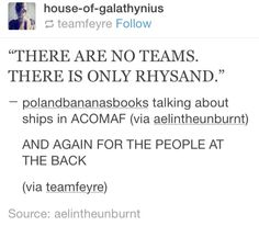 See there is only rhys there is not tamlin, feyra can only end up with rhys not tam