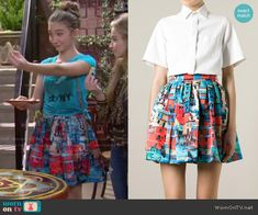 Riley's blue and red printed skirt on Girl Meets World.  Outfit Details: http://wornontv.net/49921/ #GirlMeetsWorld  Buy it at Farfetch: http://wornon.tv/29584