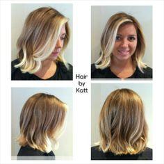 Gorgeous! blonde wavy bob haircut and balayage by Katt at www.salondecinzia.com