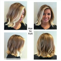Gorgeous! blonde wavy bob haircut and balayage by Katt at www.salondecinzia.com