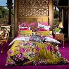 Mustard yellow, fuschia floral and slate grey print bedding to ad warmth to a light blue bedroom. Bed Linen Australia, Nursery Bedding Sets Girl, Bed Linen Design, Affordable Bedding, Quilt Cover Sets, Blue Bedroom, Master Bedroom, Bed Styling, Cool Beds